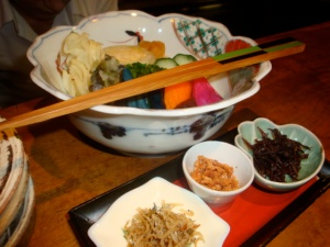 The pickle and dried fish course at Kamiya in Roppongi