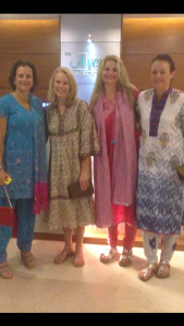 Our group on our way to dinner in the traditional dress: shalwar kameeses